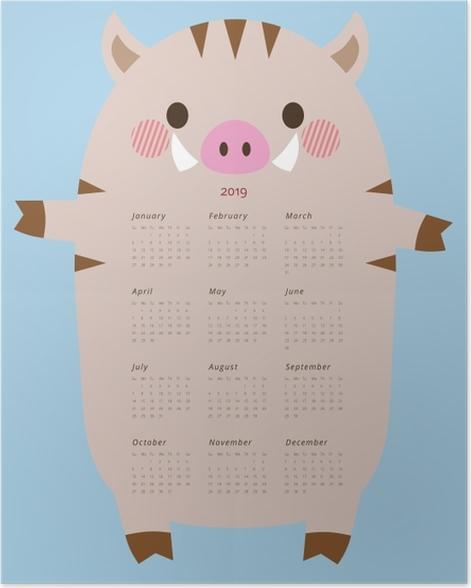 Calendar 2019 - funny boar Poster - Calendars 2019