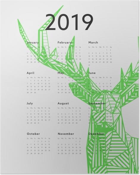 Calendar 2019 – Green deer Poster - Calendars 2019