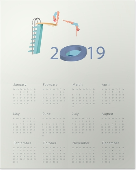 Calendar 2019 - jump into the new year Poster - Calendars 2019