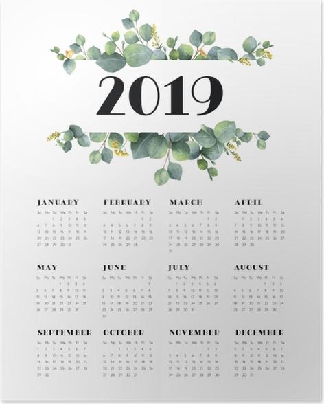 Calendar 2019 - leaves and white Poster - Calendars 2019