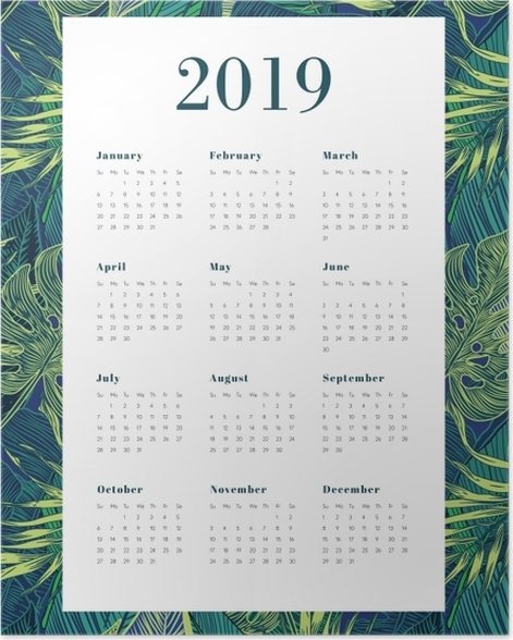 Calendar 2019 - Leaves monstera Poster - Calendars 2019