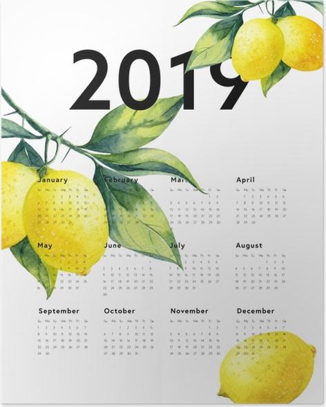Calendar 2019 - lemons Poster - Calendars 2019