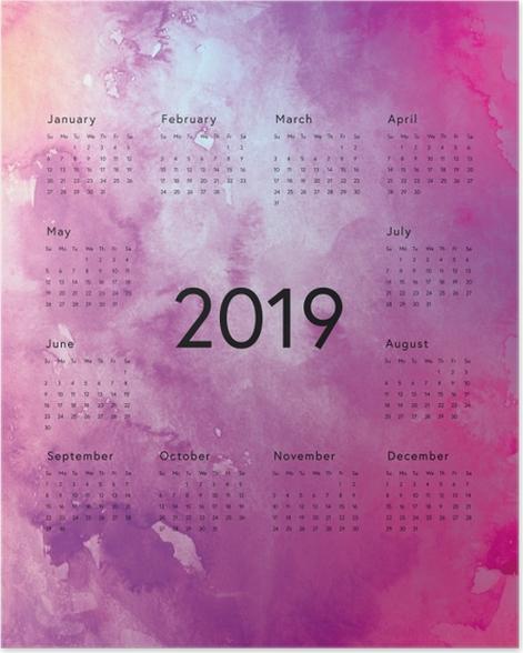 Calendar 2019 - magical purple Poster - Calendars 2019