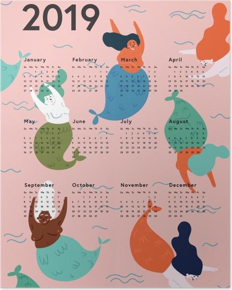 Calendar 2019 - mermaids Poster - Calendars 2019