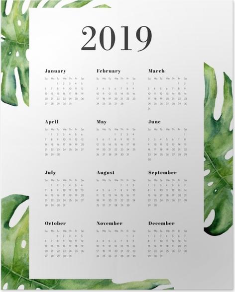 Calendar 2019 - Monstera Poster - Calendars 2019
