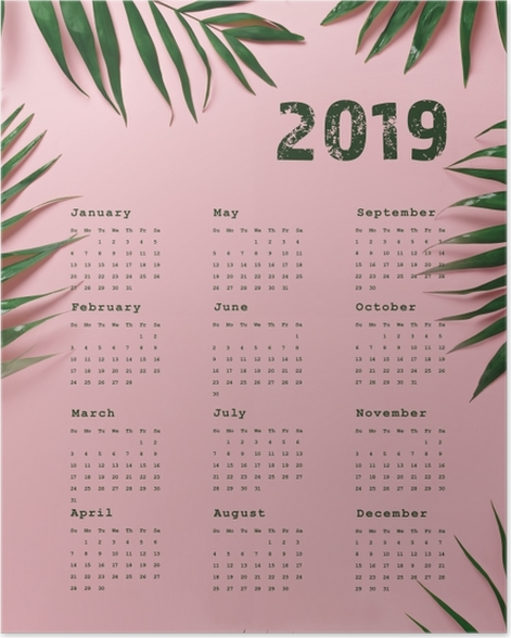 Calendar 2019 - pink and leaves Poster - Calendars 2019