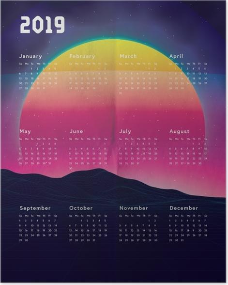 Calendar 2019 - sunset Poster - Calendars 2019