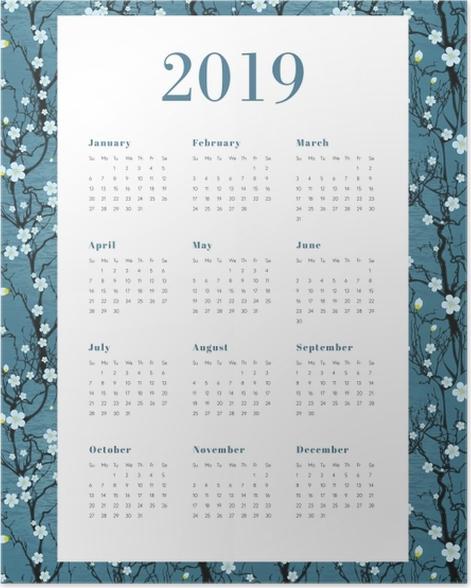 Calendar 2019 - White flowers Poster - Calendars 2019