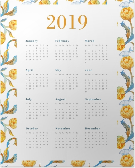 Calendar 2019 - Yellow flowers Poster - Calendars 2019