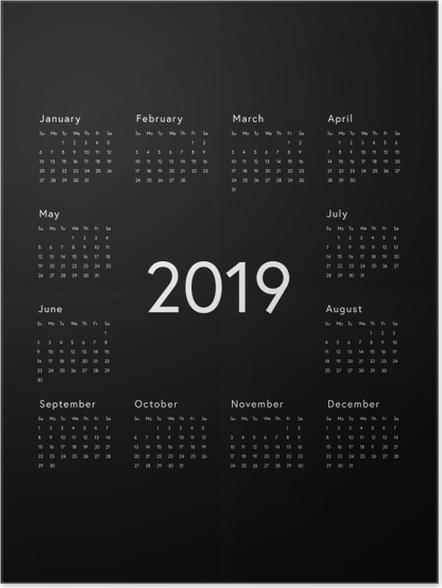 Póster Calendario 2019 - Negro y blanco -