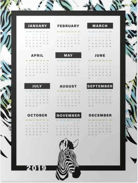 Póster Calendario 2019 – Zebra -