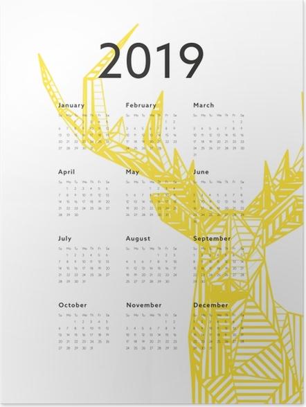 Poster Calendrier 2019 - cerfs -