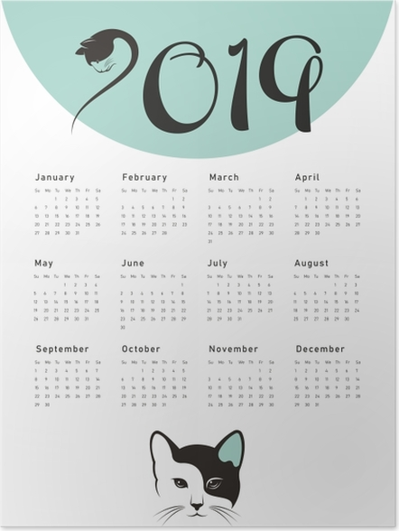 Poster Calendrier 2019 - chat -