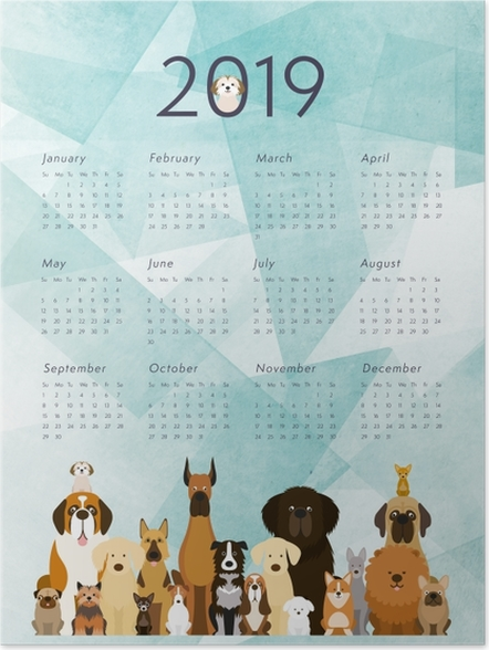 Poster Calendrier 2019 – Chiens -