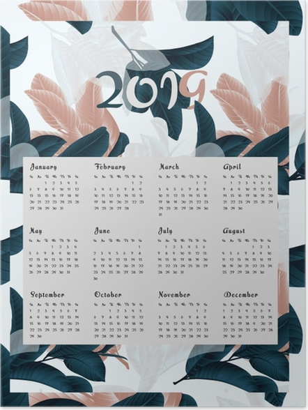 Poster Calendrier 2019 - fleurs -