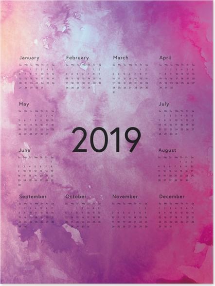 Poster Calendrier 2019 - magique pourpre -