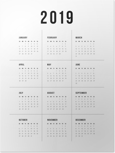 Poster Calendrier 2019 - traditionnel -