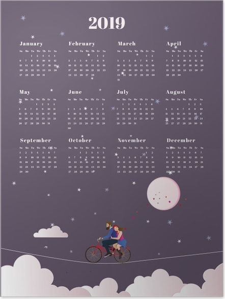 Poster Calendrier 2019 - voyage -