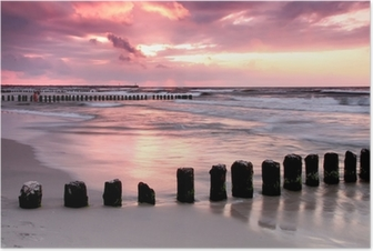 Calmness.Beautiful sunset at Baltic sea. Poster