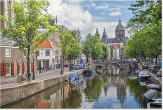 Canal and St. Nicolas Church in Amsterdam Poster