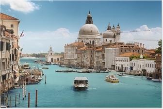 Poster Canal Grande och basilikan Santa Maria della Salute, Venedig, Italien