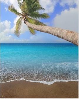 Poster Canarische Eilanden bruin zand strand tropische aqua