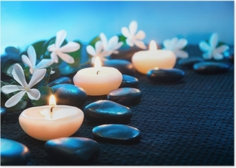 candles and black stones on black mat Poster