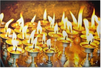 Candles at swayambhunath temple in Nepal Poster
