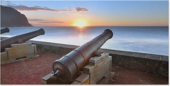 Poster Canons du barachois au coucher du soleil, Ile de la Réunion