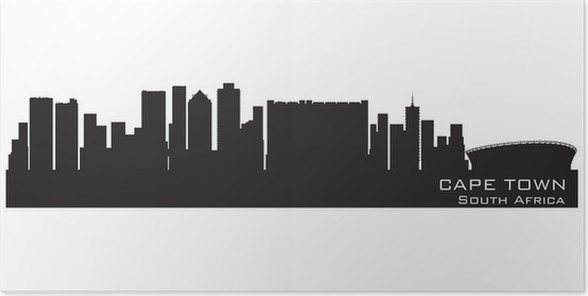 Cape town south africa skyline detailed vector silhouette poster