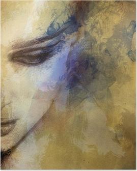 Póster Cara de mujer hermosa. ejemplo de la acuarela