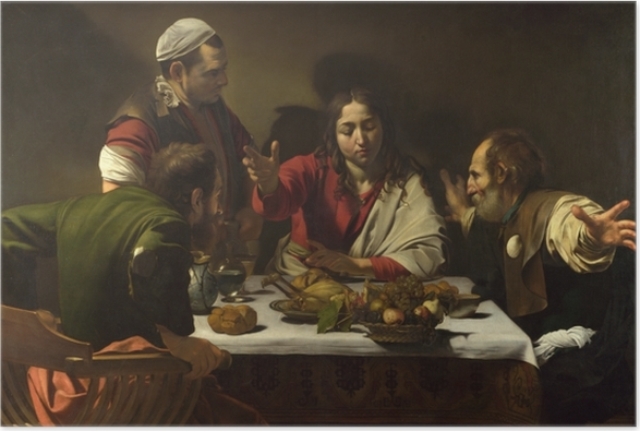 Póster Caravaggio - Cena en Emaús - Reproductions