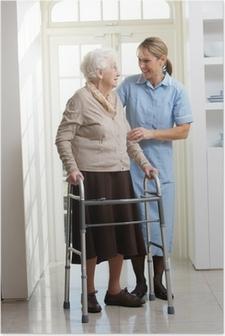 Carer Helping Elderly Senior Woman Using Walking Frame Poster