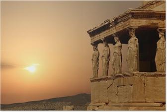 Poster Cariatides sur l'Acropole d'Athènes au coucher du soleil, de la Grèce