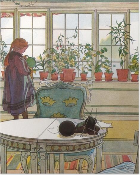 Poster Carl Larsson - Fleurs sur le Windowsill - Reproductions