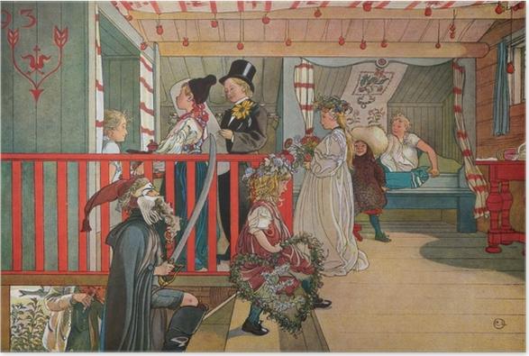 Póster Carl Larsson - Onomástica en el almacén - Reproductions