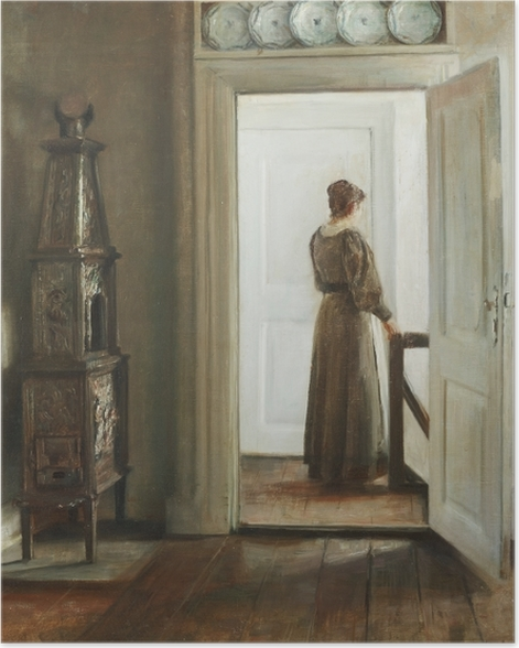 Poster Carl Vilhelm Holsøe - Intérieur avec une femme - Reproductions