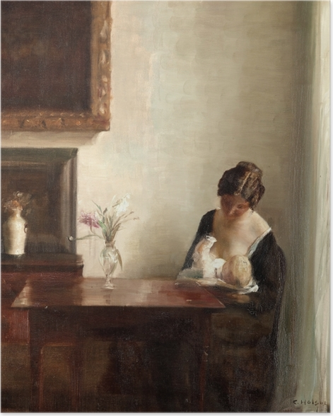 Carl Vilhelm Holsøe - Interior with Woman and Child Poster - Reproductions