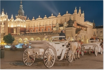 Carriages before the Sukiennice on The Main Market in Krakow Poster