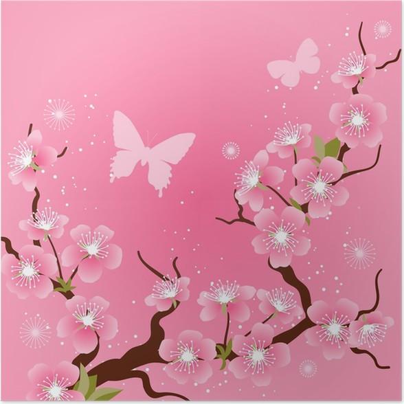poster carte avec des fleurs de cerisiers en fleurs With affiche chambre bébé avec poster cerisier japonais en fleur
