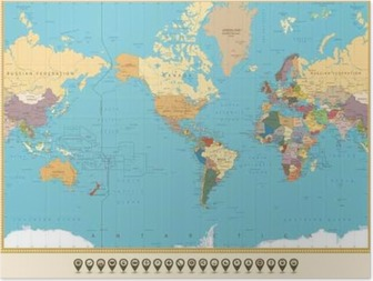 Poster Dessin Planisphère Pixers Nous Vivons Pour Changer