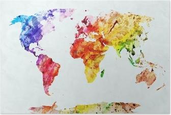 Poster Carte du monde aquarelle
