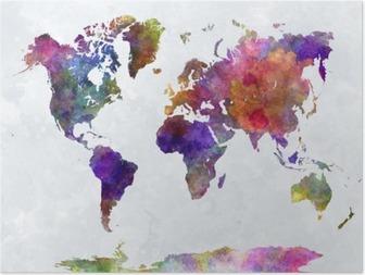 Poster Carte du monde dans watercolorpurple et bleu