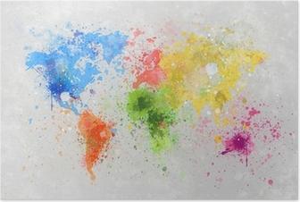 Poster Carte du monde peinture