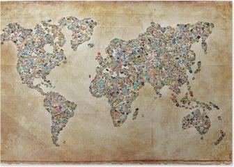 Carte du monde photos, texture vintage Poster