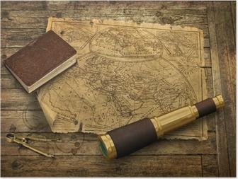 Poster Carte du vieux monde avec le télescope