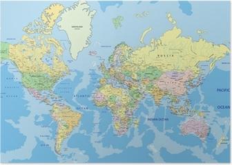 Poster Carte politique très détaillée du monde avec l'étiquetage.