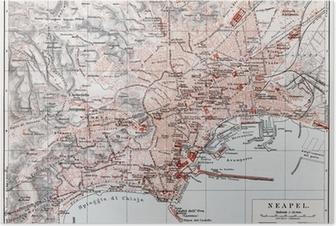 Poster Carte vintage de Naples (Napoli) à la fin du 19ème siècle