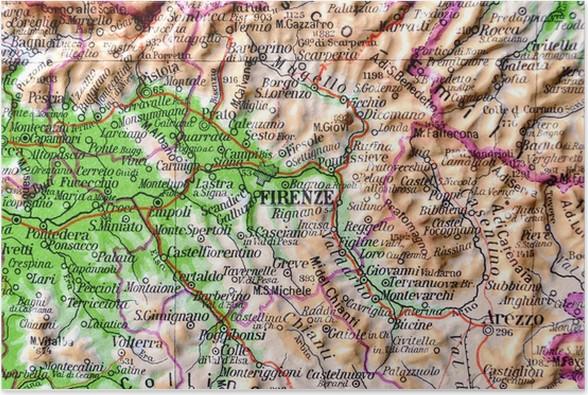 La Toscana Cartina Geografica.Cartina Geografica Della Toscana Firenze Poster