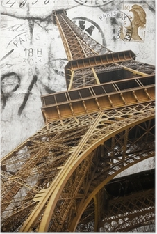cartolina vintage della tour Eiffel Poster